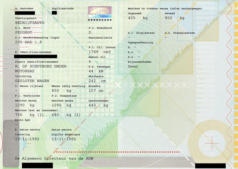 Kentekenbewijs Deel IA